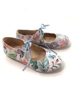 Manuela de Juan Floral Mosaic Laced Flats Shoes