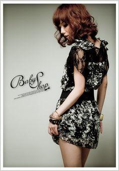 Stylish Lace Chiffon Splicing Short Sleeve Dress