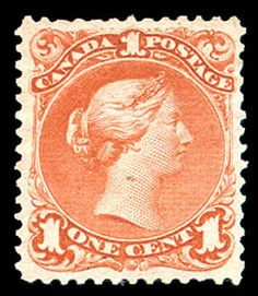 Canada, 1868, Large Queen, 1c brown red (Scott 22), without gum, beautifully well centered, Very Fine. SG 55. Scott $750. Suggested Bid $300.