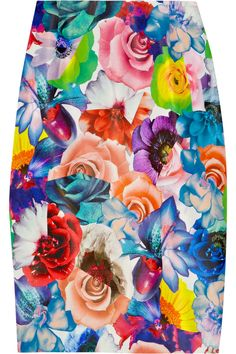 Jil Sander Floral-print silk-twill pencil skirt