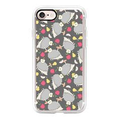 Vintage cute gray pink hedgehog fruity winter pattern - iPhone 7 Case,... ($40) ❤ liked on Polyvore featuring accessories, tech accessories, iphone case, pattern iphone case, apple iphone case, iphone cover case, vintage iphone case and pink iphone case