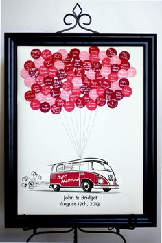 Wedding Guest Book Balloons VW Bus van SayAnythingDesign op Etsy