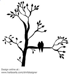 Silhouette of a tree with leaves with two birds sitting on a branch. You can…