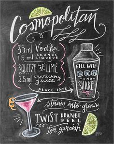 Poster-Leinwandbild-Cosmopolitan-Cocktail-Rezept-Lily-Val