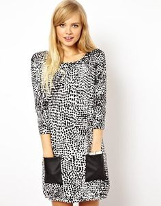 ASOS Knit Dress In Leopard With Leather Look Pockets