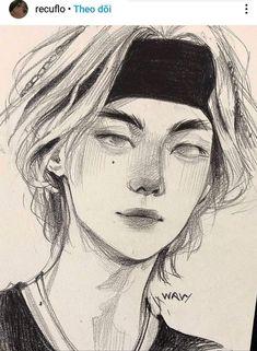 Kpop Drawings, Art Drawings Sketches Simple, Cute Drawings, Pretty Art, Cute Art, Arte Sketchbook, Cartoon Art Styles, Anime Sketch, Boy Art