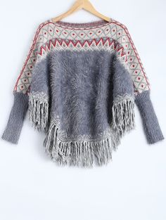 Jacquard Knit Pullover Batwing Sweater