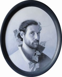 """Andrea Esposito, """"Autoritratto con l'edera"""", olio su tela, 50x40cm, 2015"""