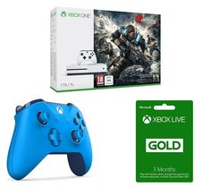 MICROSOFT MICROSOFT  Xbox One S, Gears of War 4, Wireless Gamepad & 3 Month Xbox LIVE Gold Membership Bundle, Gold Price: £ 279.99 Settle down to some great gaming with the Microsoft Xbox One S, Gears of War 4, Wireless Controller & 3 Month Xbox LIVE Gold Membership Bundle. _____________________________________________________________  Xbox One S The Xbox One S is an enhanced Xbox console 40%...