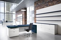 CEO white office storage with a blue top White Executive Desk, Executive Office Furniture, White Desk Office, Modern Office Desk, Ceo Office, Office Desks, Office Interior Design, Office Interiors, Commercial Furniture
