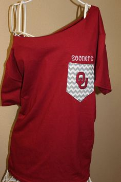 University of Oklahoma Sooners Pocket Off-the-Shoulder Shirt Chevron