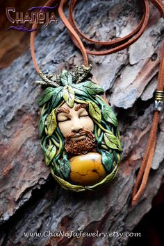 "Cernunnos Pendant-jewelry for men by ChaNoJaJewelry on Etsy. Please feel every essence of me being poured uncontrollably into this striking one of a kind handcrafted pendant - it was a lot of joyful work :) This magical piece of wearable art features many tiny details and a gorgeous brown turquoise with beautiful patterns in it. I left a hole open at the back of the gemstone so it can be close to your skin. I love his expression of a deep ""knowing"" and presence."