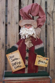 Primitive Santa Clause Wood Craft Pattern - Dear Santa, Define Good