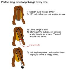 How to cut sideswept bangs!just in case I'm ever overcome with the urge to cut my own bangs. Diy Side Swept Bangs, Cut Side Bangs, How To Cut Bangs, Cut Own Hair, How To Cut Your Own Hair, Bangs Hairstyles Sideswept, Trendy Hairstyles, Hair Cutting Techniques, Hair Color And Cut