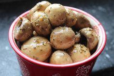 Marinated Mushrooms! Good for a low carb snack or to add in antipasti salad.