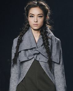 Fei Fei Sun @ Y-3 F/W 2011 - braids, strong eye brows, hard top liner