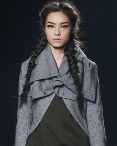 { Fei Fei Sun @ Y-3 F/W 2011 - braids, strong eye brows, hard top liner }