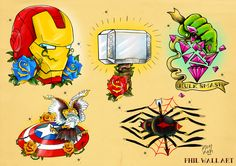 philwallart:  'Avengers' Tattoo Flash sheet.Might work on the Eagle colours.