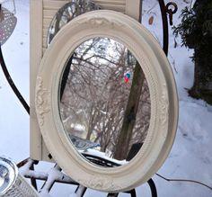 Oval Mirror, Floral Frame, 15 x 18 Mirror, White Mirror, Embossed Syroco Mirror, Powder Room Decor, CasaKarmaDecor, Floral Cottage Mirror