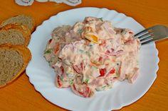 Rajčata pokrájíme na 2cm kousky, salám na kratší nudličky, cibulky na plátky, natě na kousky. Majonéza: do šlehače dáme všechny ingredience mimo... Potato Salad, Cooking Recipes, Chicken, Baking, Ethnic Recipes, Sweets, Fitness, Per Diem, Food