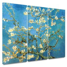 Bungalow Rose 'Almond Blossom' by Vincent Van Gogh 3 Piece Painting Print on Wrapped Canvas Set in Blue and Gold & Reviews | Wayfair