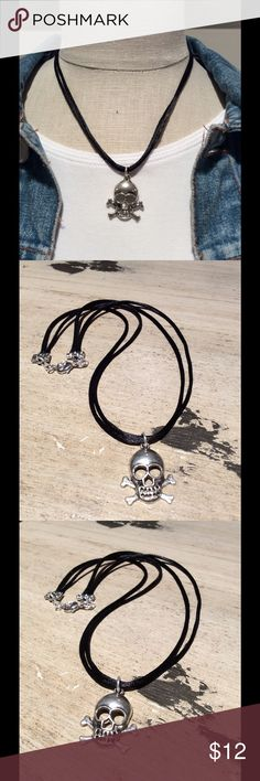 Skull necklace Silver plated skull strung on a double black satin cord. Silver plated connections. 16 inch choker with a one inch extender. handmade Jewelry Necklaces
