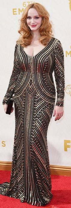 be67adc79a402 Who made Christina Hendricks  black sequin long sleeve gown and jewelry   Celebrity Red Carpet