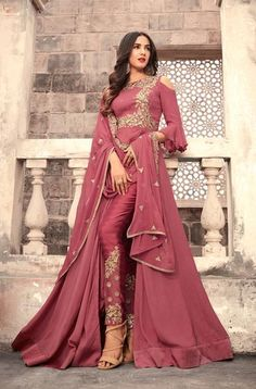 Buy graceful pink colored designer partywear embroidered georgette anarkali suit with santoon fabric lining and bottom along with chiffon dupatta at best price from peachmode. Classic Indian salwar Click above VISIT link for more details Trajes Anarkali, Anarkali Dress, Pakistani Dresses, Indian Dresses, Indian Outfits, Lehenga, Bridal Anarkali Suits, Bridal Sarees, Pakistani Bridal