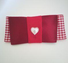 Barrette ruban rouge et blanc