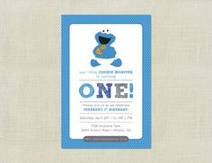 Cookie Monster Sesame Street Baby Birthday Invitation / Blue Boy / Turning ONE 1 / First Birthday / Custom / Printable / on Etsy, $11.62 AUD
