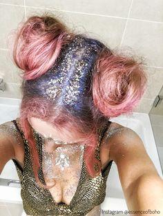 Space Buns by @essenceofboho || Follow her Instagram for more! || #space #buns #festival #fashion #make #up #festivallook #festivalfashion #festivalstyle #festivalseason #summer #glitter #festivalmakeup #fashion #hair #glitter #pinkhair #bluehair #pink #rosa #haare #halloween