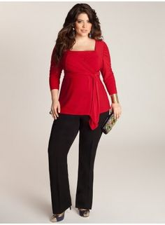 Luella Plus Size Infinity Tunic in Scarlet at www.curvaliciousclothes.com #plussize #curvy #fashion You'll want to put the Luella Infinity Tunic in heavy rotation this season. Its convertible bodice has a work appropriate neckline and can be styled 2 different ways! Pair with tailored slacks and gems to match.
