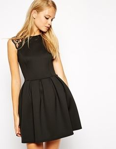 Asos Lace Sleeve Skater Dress In Scuba - get $10 Off $100: 10OFF100