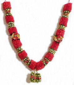 Red, Green and Golden Ribbon Garland (Satin Ribbon))