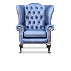 Blenheim High Chair made by Springvale Chesterfield. JMT Crest Old English Ocean Blue colored. Old English, Chesterfield, Armchair, Ocean, Blue, Color, Sofa Chair, Single Sofa, Sea