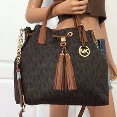 db622f1e95a4 NWT Michael Kors Brown PVC Leather Tote Shoulder Crossbody Handbag Bag Purse