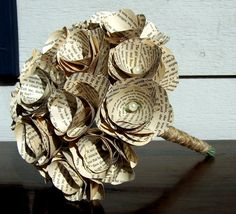 Book Page Bouquet -Book Page Flowers -Vintage Paper Flowers -Paper Roses -18 Paper Stem Roses -Eco Wedding. $65.00, via Etsy.
