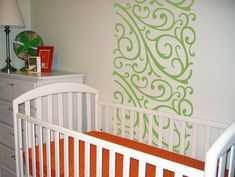 Swirls Wall Runners from www.BeautifulWallDecals.com  Such a cute idea! It looks great here in a child's room, but with a different color it could be elegant for an adult bedroom or living room!  #walldecal #decal #beautifulwalldecals #bedrom #homedecor