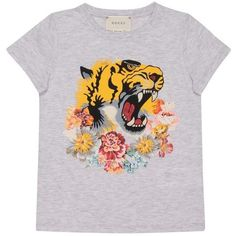 Gucci L'Aveugle Par Amour cotton jersey t-shirt ($148) ❤ liked on Polyvore featuring tops, t-shirts, grigio, jersey top, print tees, tiger print top, tiger stripe t shirt and short sleeve tee