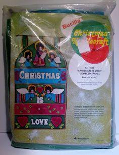 Bucilla Vintage Needlepoint Christmas Love #1644  Felt Applique Sealed Complete $27.75