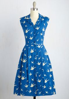 Bake Shop Browsing Dress in Swallows. Enticed by the sweet scents of the local pie shop, you drift through the doors in this cotton shirt dress by hard-to-find, vintage-inspired British brand Emily and Fin! #blue #modcloth