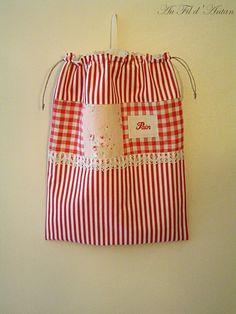 Grand sac à pain en toile rayée, Vichy, dentelle, roses,