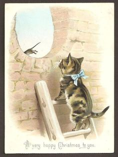 VICTORIAN CHRISTMAS CARD - CAT ON LADDER CHASING MOUSE. Helena Maguire.