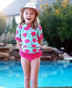 9c8f406dd6 RuffleButts Fashionista Rose Ruffled Rash Guard Bikini Boutique Clothing