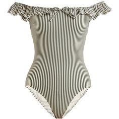 Solid & Striped The Amelia off-the-shoulder swimsuit (€135) ❤ liked on Polyvore featuring swimwear, one-piece swimsuits, striped one piece swimsuit, swimming costume, off-shoulder bathing suits, swim suits and flounce swimsuit