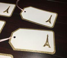 Gold sparkly border Paris favor tags, Gold Rimmed Eiffel Tower gift tags Paris theme wedding Paris bridal baby shower Parisian party-5/order Favor Tags, Gift Tags, 30th Birthday For Him, Parisian Party, Paris Theme, Tag Design, Gold Sparkle, Favors, Tower