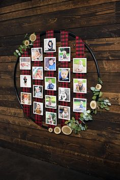 Hula-Hoop Photo Display for a Lumberjack Themed 1st Birthday Party. A great way to display photos throughout the first year.