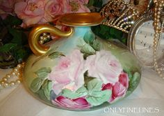 BEAUTIFUL Limoges Ewer with Hand Painted Pink Roses