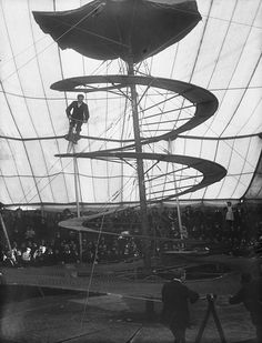 From the National Library of Ireland. Not quite a Wall of Death, but this must surely have been quite a thrilling act for audiences at Lloyd's Circus, nonetheless. Lloyd's Circus (aka Lloyd's Mexican Circus) toured Ireland and Britain. Old Circus, Circus Acts, Night Circus, Vintage Circus, Foto Vintage, Circus Pictures, Sideshow Freaks, Circo Vintage, Circus Performers