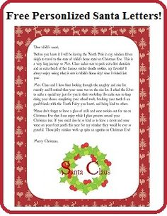 Hear from santa claus receive a letter phone call email and more free personalized printable santa letters spiritdancerdesigns Images